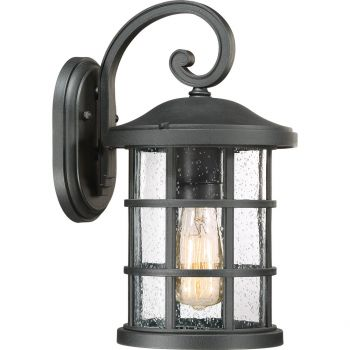 """Quoizel Crusade 14.25"""" Clear Seedy Outdoor Wall Lantern in Earth Black"""