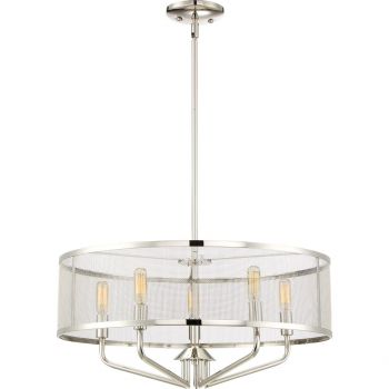 Quoizel Cityscape 5-Light Mesh Metal Shade Pendant in Polished Nickel