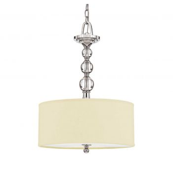 "Quoizel Downtown 17"" 3-Light Cream Linen Pendant in Polished Chrome"