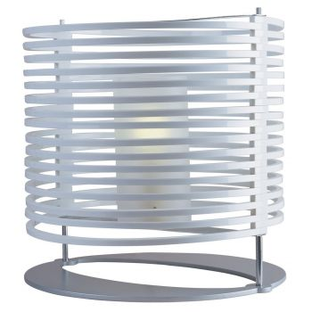 """ET2 Ruche 17.5"""" White Acrylic Shade Table Lamp in Satin Nickel"""