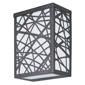 "ET2 Inca LED 7.5"" 2-Light Outdoor White Glass Wall Mount in Bronze"