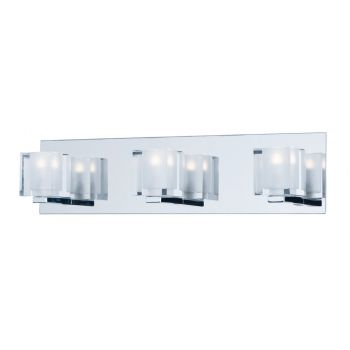 "ET2 Blocs LED 19.5"" 3-Light Clear Glass Bath Vanity in Polished Chrome"