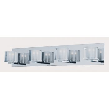 "ET2 Blocs LED 27.5"" 4-Light Clear Glass Bath Vanity in Polished Chrome"