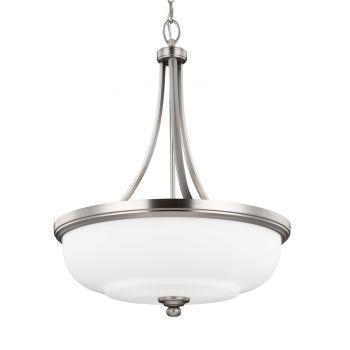 Feiss Vintner 3-Light Uplight Chandelier in Satin Nickel