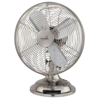 Minka-Aire Retro Style Table Fan in Brushed Nickel