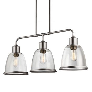 Feiss Hobson 3-Light Island in Satin Nickel Finish w/ Clear Seeded Glass
