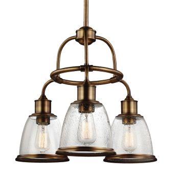 "Feiss Hobson 21.5"" 3-Light Chandelier in Aged Brass w/ Seeded Glass"
