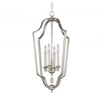 Feiss DeWitt 4-Light Foyer Chandelier in Sunrise Silver