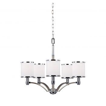 Feiss Prospect Park 5-Light Chandelier in Satin Nickel / Chrome