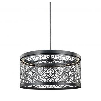 Feiss Arramore 19 Inch Outdoor LED Pendant in Dark Weathered Zinc