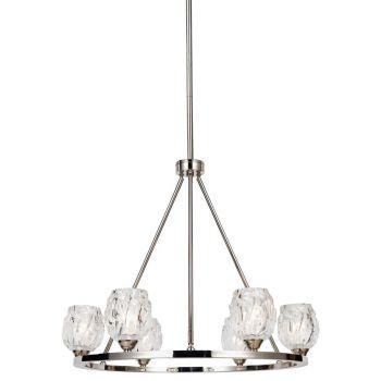 """Feiss Rubin 26.5"""" 6-Light Clear Glass Chandelier in Polished Nickel"""