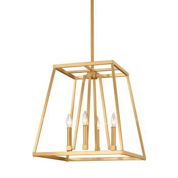 """Feiss Conant 18"""" 4-Light Pendant in Gilded Satin Brass"""