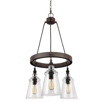 """Feiss Loras 16"""" 3-Light Clear Seeded Chandelier in Dark Weathered Iron"""