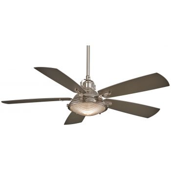 """Minka-Aire Groton 56"""" Indoor/Outdoor Ceiling Fan in Polished Nickel"""