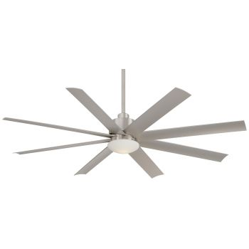 "Minka-Aire Slipstream 65"" Outdoor Ceiling Fan in Brushed Nickel Wet"