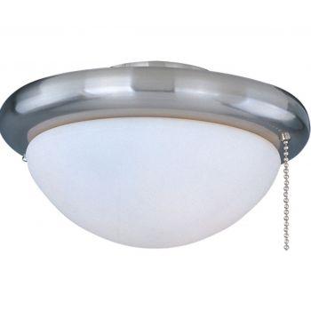 """Maxim Basic Max 7"""" White Glass Ceiling Fan Light Kit in Satin Nickel"""