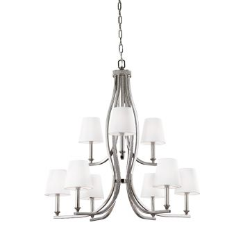 """Feiss Pave 33.5"""" 9-Light White Linen Shade Chandelier in Polished Nickel"""