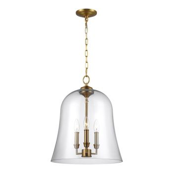 Feiss Lawler Bell Pendant Light in Burnished Brass
