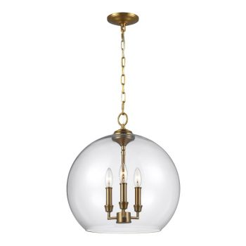 Feiss Lawler Orb Pendant in Burnished Brass