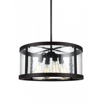 Feiss Harrow Clear Seeded Glass Pendant Light in Oil Rubbed Bronze