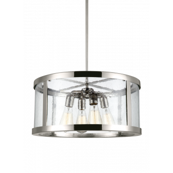 Feiss Harrow Clear Seeded Glass Pendant Light in Polished Nickel