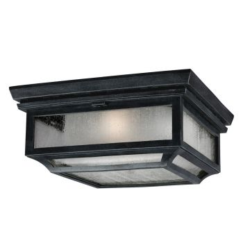 Feiss Shepherd 2-Light Outdoor Flush Mount in Dark Weathered Zinc