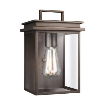 """Feiss Glenview 10"""" Outdoor Clear Glass Wall Lantern in Antique Bronze"""