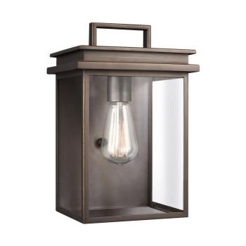 "Feiss Glenview 12"" Outdoor Clear Glass Wall Lantern in Antique Bronze"