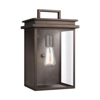 """Feiss Glenview 14.75"""" Clear Outdoor Wall Lantern in Antique Bronze"""