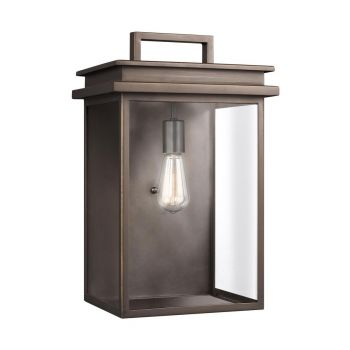 """Feiss Glenview 18.5"""" Outdoor Clear Glass Wall Lantern in Antique Bronze"""