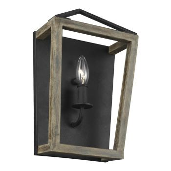 """Feiss Gannet 14.13"""" Wall Sconce in Weathered Oak/Antique Forged Iron"""