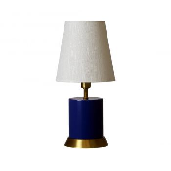 """House of Troy Geo 12"""" Cylinder Accent Lamp in Navy Blue/Weathered Brass"""