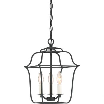 "Quoizel Gallery 10"" 3-Light Foyer Chandelier in Royal Ebony"