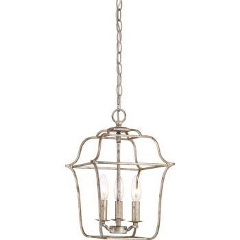 "Quoizel Gallery 10"" 3-Light Foyer Chandelier in Century Silver Leaf"