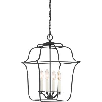 "Quoizel Gallery 14"" 4-Light Foyer Chandelier in Royal Ebony"