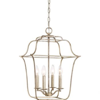 "Quoizel Gallery 14"" 4-Light Foyer Chandelier in Century Silver Leaf"
