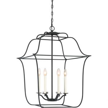 "Quoizel Gallery 22"" 6-Light Foyer Chandelier in Royal Ebony"