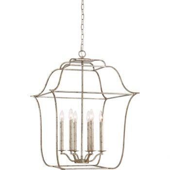 "Quoizel Gallery 22"" 6-Light Foyer Chandelier in Century Silver Leaf"