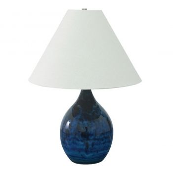 """House of Troy Scatchard 22.5"""" Stoneware Table Lamp in Midnight Blue"""