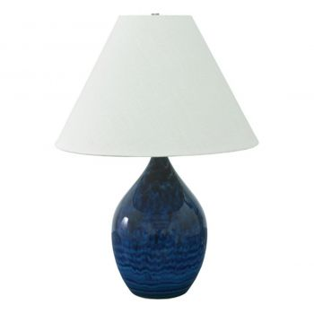 """House of Troy Scatchard 28"""" Stoneware Table Lamp in Midnight Blue"""