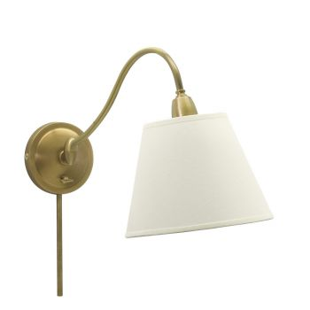 House of Troy Hyde Park Wall Lamp Weathered Brass w/White Linen Shade