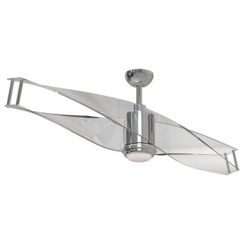 "Craftmade Illusion 56"" Clear Ceiling Fan in Polished Nickel"