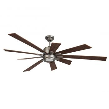"Craftmade Katana 72"" Ceiling Fan w/ Walnut Blades in Pewter"