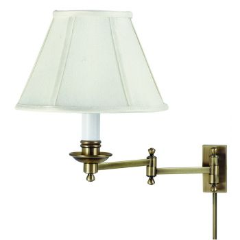House of Troy Decorative Swing-Arm Wall Lamp in Antique Brass
