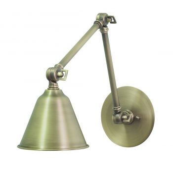 "House of Troy Library 11"" Adjustable LED Wall Lamp in Antique Brass"