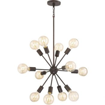 "Quoizel Limelight 28"" 12-Light Chandelier in Palladian Bronze"