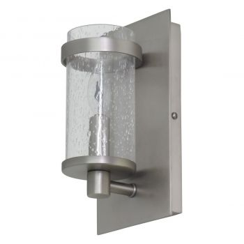 """House of Troy Lake Shore 9"""" Seeded Glass Wall Lamp in Satin Pewter"""
