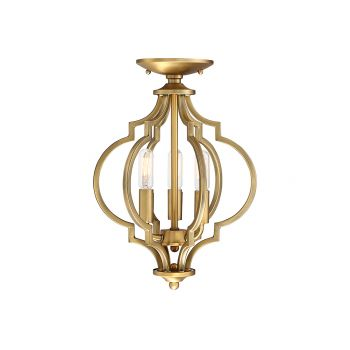 Trade Winds 3-Light Convertible Ceiling Light/Pendant in Natural Brass