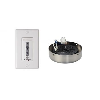 Monte Carlo Wired Wall Remote w/ White Switch Plate & Receiver Hub in Brushed Steel