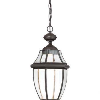 "Quoizel Newbury 19"" Clear LED Outdoor Hanging Lantern in Medici Bronze"